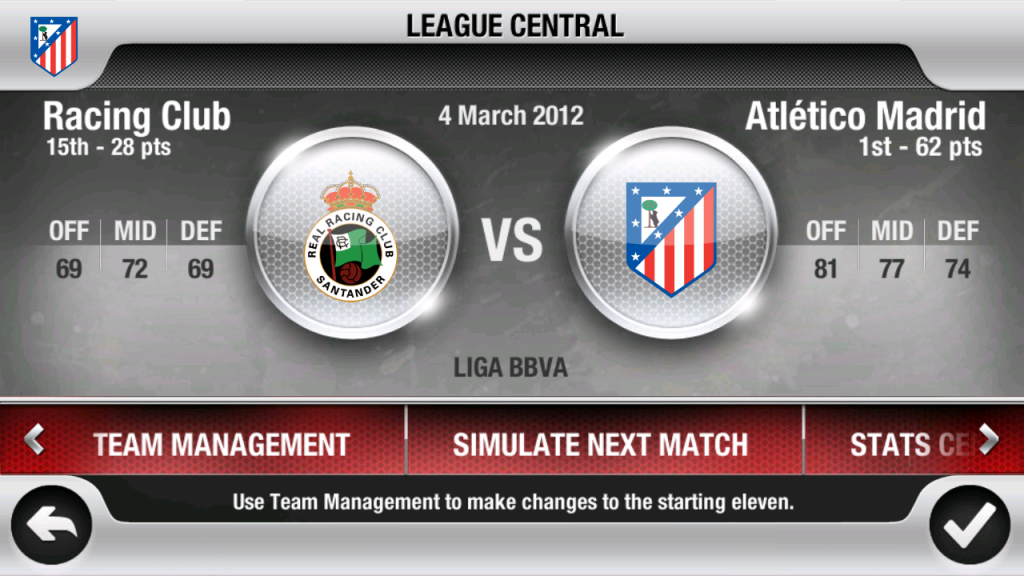 League Central Fifa 12 Android RC Santander - Atletico Madrid