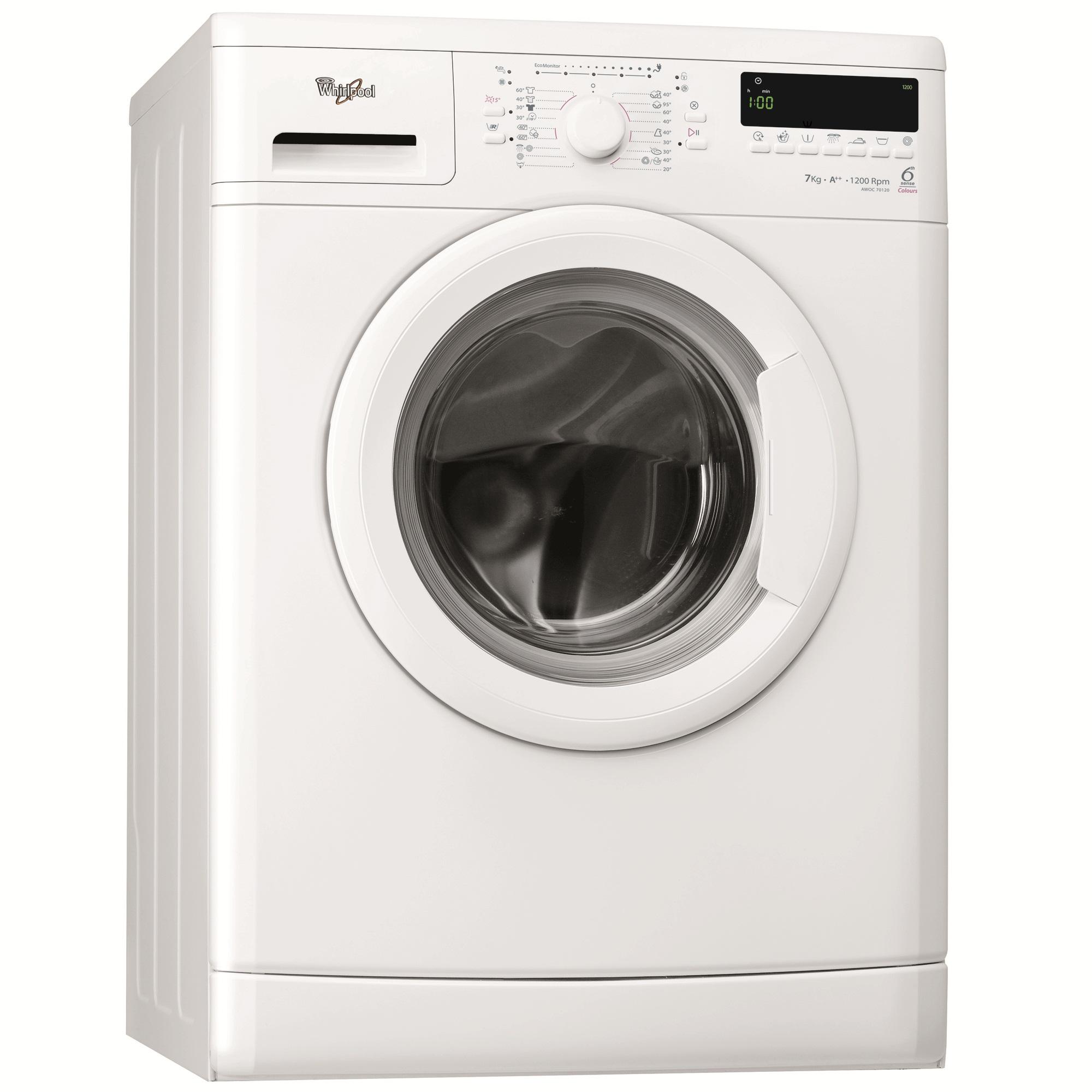 Masina de spalat rufe 6th Sense Whirlpool AWOC70120, 1200 RPM, 7 Kg, A++